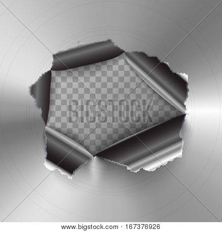 Torn hole in glossy round polished metal plate on transparent background