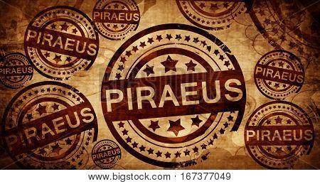 Piraeus, vintage stamp on paper background