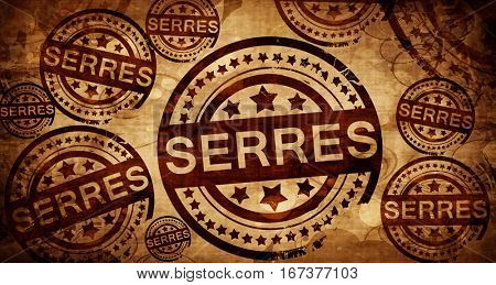 Serres, vintage stamp on paper background