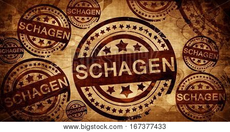 Schagen, vintage stamp on paper background