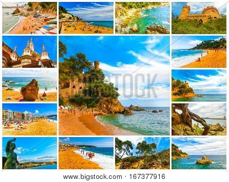 The collage from images of Lloret de mar Spain