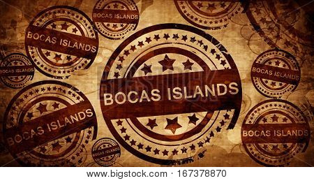 Bocas islands, vintage stamp on paper background