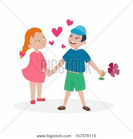 Happy smiling couple in love vector characters togetherness. Romantic people together relationship. Attractive lifestyle beautiful happiness human illustration.