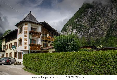 Hotel Or Pansion At Hallstatt Village. Salzkammergut, Upper Austria
