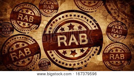 Rab, vintage stamp on paper background