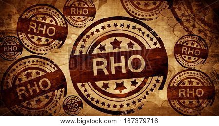 Rho, vintage stamp on paper background