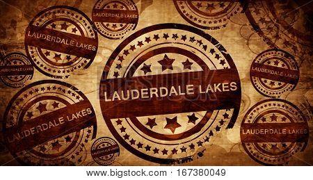 lauderdale lakes, vintage stamp on paper background