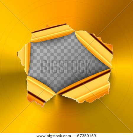 Torn hole in glossy round polished gold metal plate on transparent background