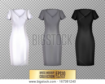Women's dress mockup collection. Realistic vector illustration. Fully editable handmade mesh. Classic dress with short sleeves.