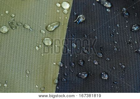 water repellent material of a jacket waterdrops on surface