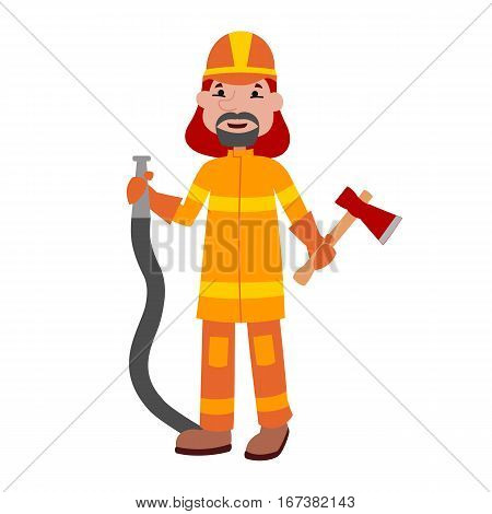 Fire fighter cartoon waving vector illustration. Adult man in protective equipment occupation department. Emergency rescue people profession.