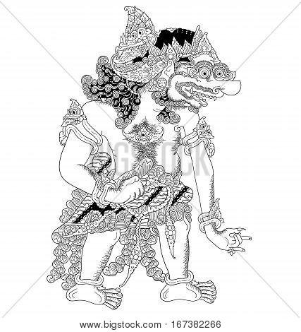 Ditya Kumbakumba, a character of traditional puppet show, wayang kulit from java indonesia.