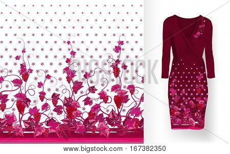 Vector seamless pattern of vines with leaves, flowers and berries on classic women's dress mockup. Hand-drawn ornate pattern with an example of application.