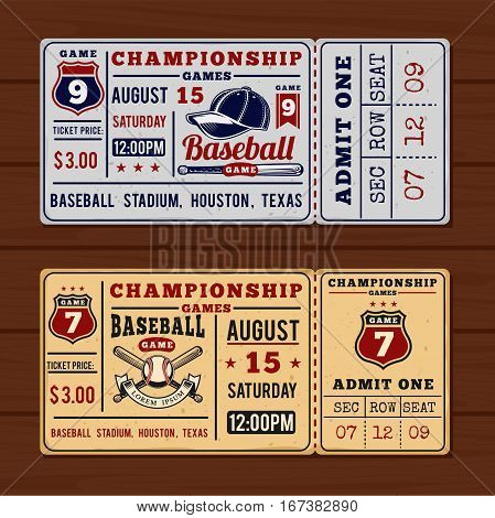 Vector illustration for vintage tickets to the championship baseball and softball