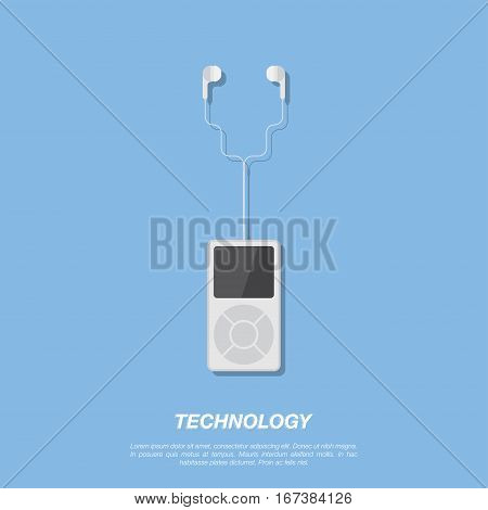 Mp3 player and headphones on blue background. Flat vector illustration EPS 10.