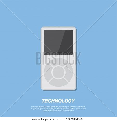 Vector Mp3 player on blue background. Flat vector illustration EPS 10.