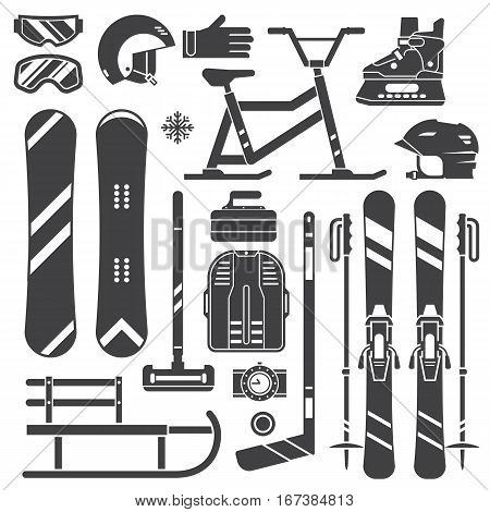 Winter sports equipment and gear silhouette set. Ski, skates, snowmobile, hockey, curling, snowboard and sleds. Snow games outline vector icons. Snowboarding and skiing helmets, goggles and gloves.