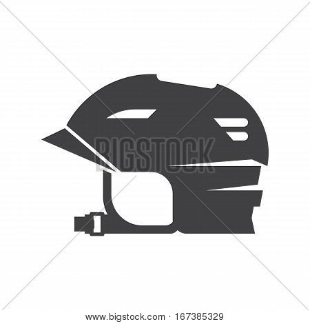 Sports helm for outdoor activities silhouette. Cycling, rolling or skating helmet vector icon. Crash protector headwear for riding. Hard hat helmet for bikers, rollers and skaters.