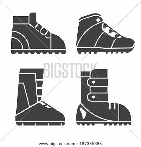 Hiking shoes and snowboard boots outline vector icons. Sport footwear for outdoor activities silhouettes set.