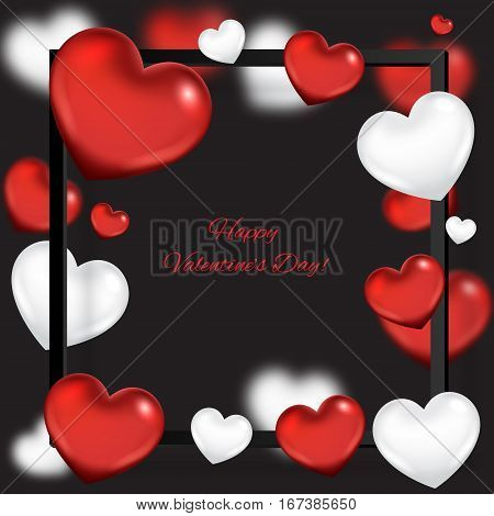 Valentine's day abstract background with red hearts
