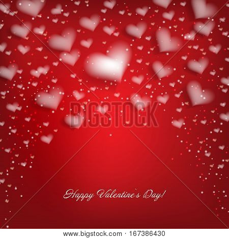 Valentine's day abstract background with white hearts
