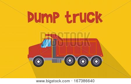 Illustration of red dump truck collection stock