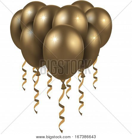 3d Realistic Colorful Balloon. Holiday illustration of flying glossy balloon.