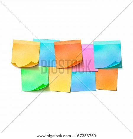 Set of different colorful sticky notes on white background