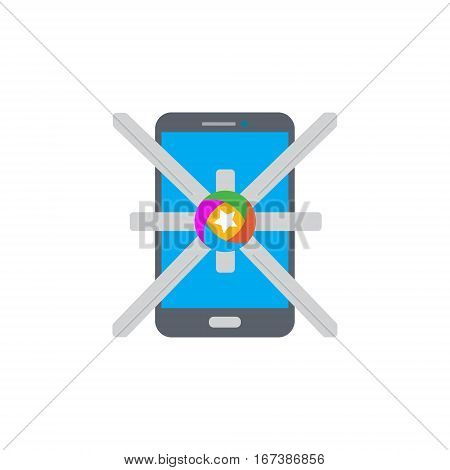 Vector icon or illustration showing mobile internet marketing and advertising with star in material design style