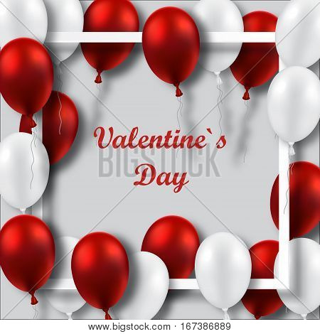 Valentines Day poster with red and white balloons on white frame.