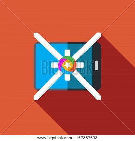 Vector icon or illustration showing mobile internet marketing and advertising with star in flat design style with long shadow