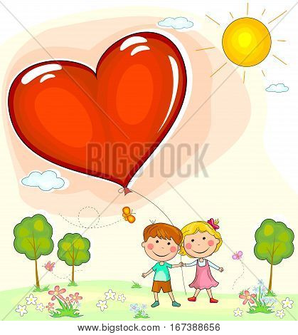 Boy and girl with balloon in the shape of a heart. Greeting card with Valentine's day.