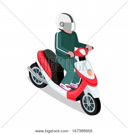 Biker in helmet driving red scooter. Motorbiker with motorcycle. Man in green suit riding scooter. Flat 3d isometric motorcyclist on motorcycle. Isometric biker top view. Isolated vector illustration.