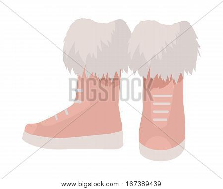 Pair of boots vector. Flat style. Warm leather or suede boots with mid boot-top and fur for autumn or winter seasons. For shoes store ad, wear concept, icons, web design. Isolated on white background