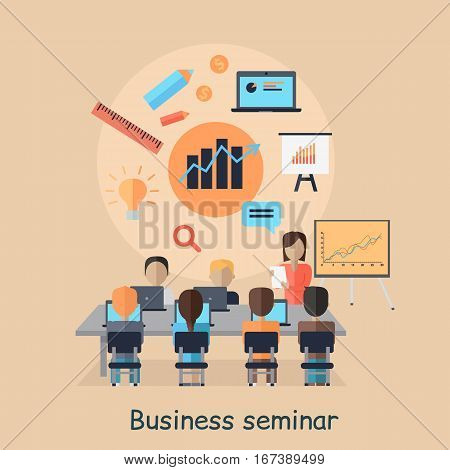 Business seminar. Succefull motivational managment. Girl talks about new direction in company strategy. Part of series of developing successful leadership in team working. Vector