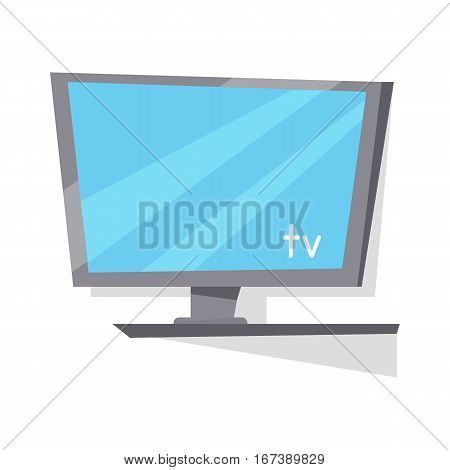 Gray LCD TV monitor with blank screen in flat. LCD TV monitor. LCD TV screen. Smart TV Mock-up, Vector TV screen, LED TV. Plasma TV. Isolated object on white background. Vector illustration.