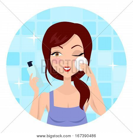 Girl cleaning and care her face, facial, treatment, beauty, healthy, hygiene, lifestyle. Cleaning makeup. Skin care. Beautiful woman in process of washing face. Girl in blue shirt