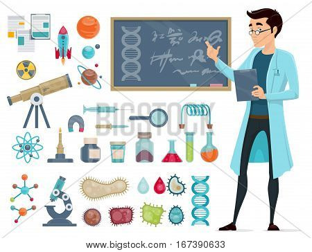 Scientific icons set with scientist and biological astronomic chemical elements isolated vector illustration