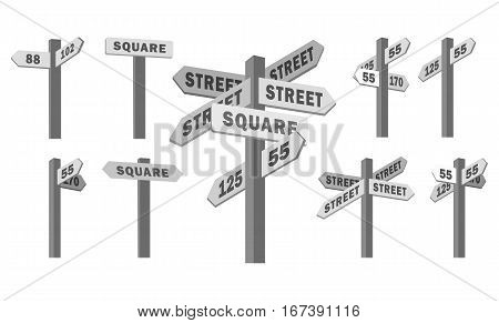 Stock Vector set of isolated pillars street signs with arrows