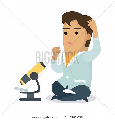 Scientist with microscope. Man in white coat sitting and scratching head near microscope flat vector illustration on white background. Microbiological research. For scientific, educational concepts