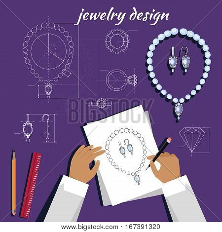 Jewerly production sketch banner. Jewelry designer works on hand drawn sketch of necklace and earrings. Draft outline of diamond unit design. Project of brilliant ornamental chain and earrings. Vector