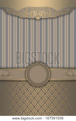 Vintage background with decorative borderframe and elegant gold patterns.