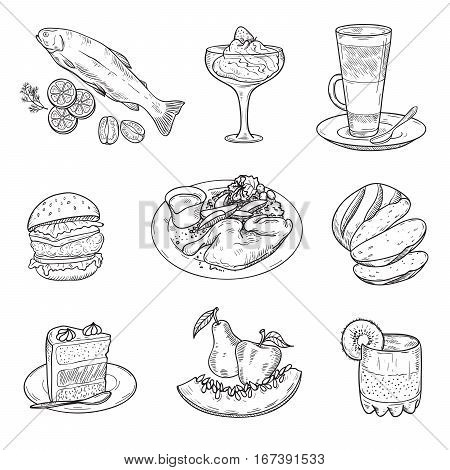 foodstuffs. menu items. set of vector sketches on a white background