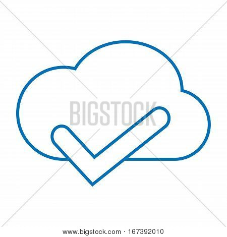 simple thin line cloud accept storage icon