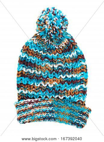 Colorful striped wool hat on white background