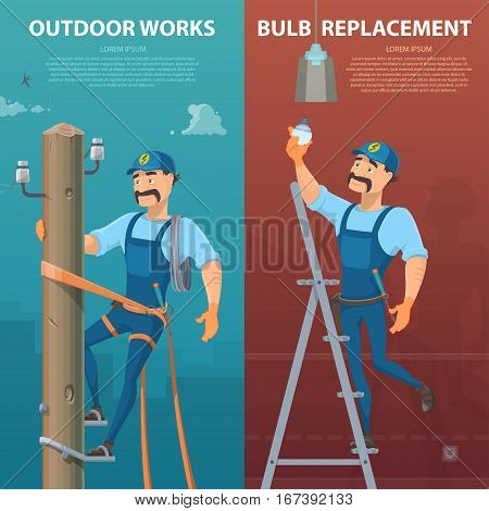 Electricity vertical banners with moustached electrician repairing high voltage power lines and replacing bulb vector illustration