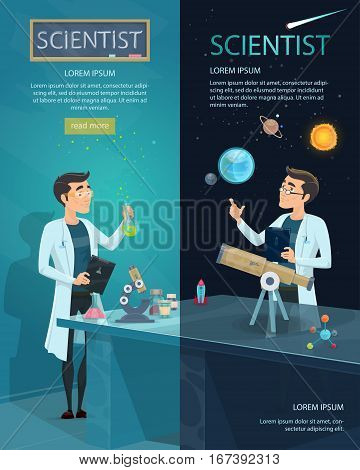 Scientific vertical banners with scientist in laboratory and astronomer studying space and stars vector illustration