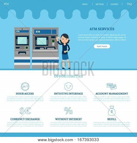 Bank landing page template with web elements services and different advantages in flat style vector illustration