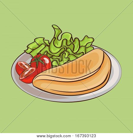 French omelettes on plate composition with tomatos and salad on green background isolated vector illustration
