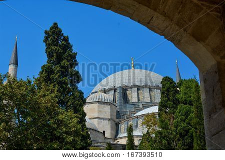 Outer view of dome in Ottoman architecture in Istanbul Turkey